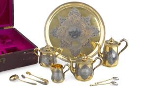 Сервиз чайно-кофейный серебро 84 проба.