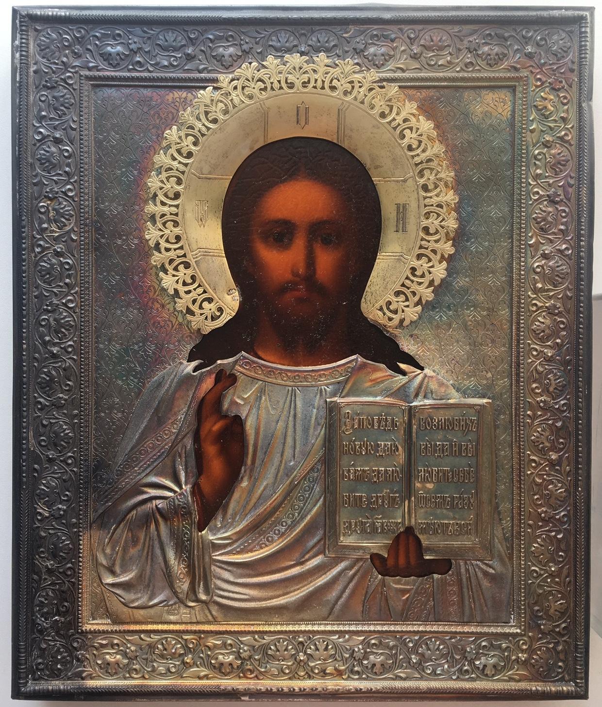 Икона Господь Вседержитель. Серебро 84 пр. Пётр Абросимов. Размер 27х22,7 см. Цена 340000 р.